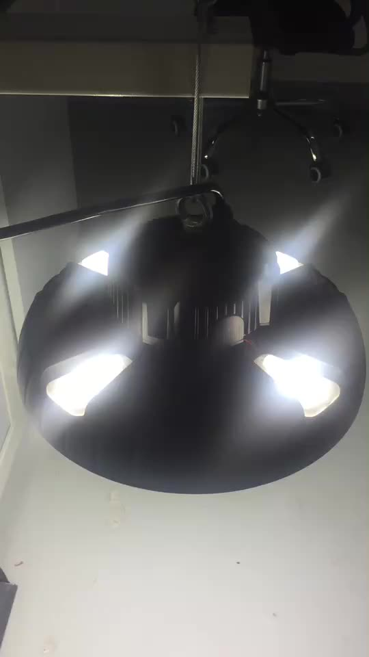CE RoHS DLC Approved IP65 Waterproof Dimmable 100W 150W 200W UFO Led High Bay Light With Motion Sensor