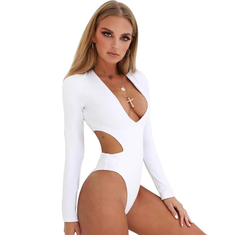 hot deep v neck  long sleeve swimsuit women sexy one piece swimsuit for women