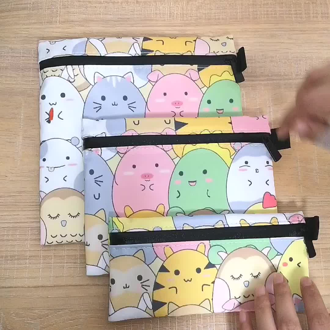 Eco Friendly Reusable Snack Bag Cotton Fabric Cartoon Printed Sandwich Bags