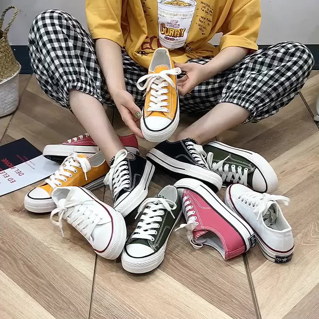 Wholesale Custom Breathable Sole Women Casual Canvas Sneakers Shoes