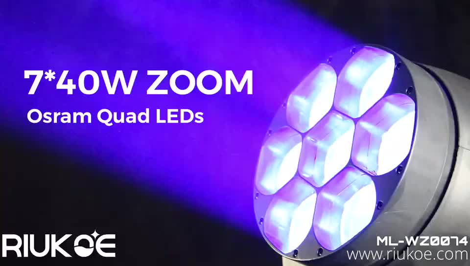china led manufacturer led zoom wash moving head 7x40w pixel