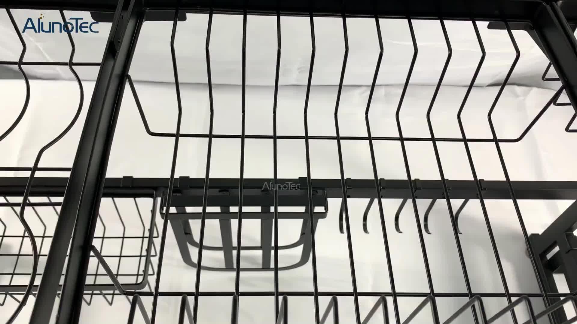 2-Tier 85cm Modern Black Design Stainless Steel Kitchen Storage Holders Drying Organizer Over Sink Dish Rack