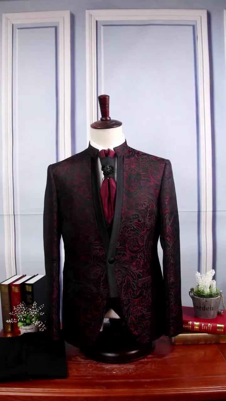 Order new arrival stand collar jacquard mens tuxedo suits