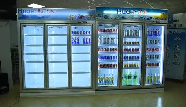 2460L vitrin dört cam kapı buzdolabı kompresör buzdolabı