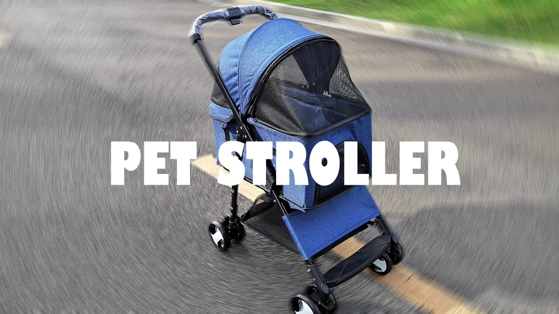 4 Wheels Dog Cat Jogger Stroller One-Click Folding Travel Pet Carrier Trolley Pet Stroller For Dogs