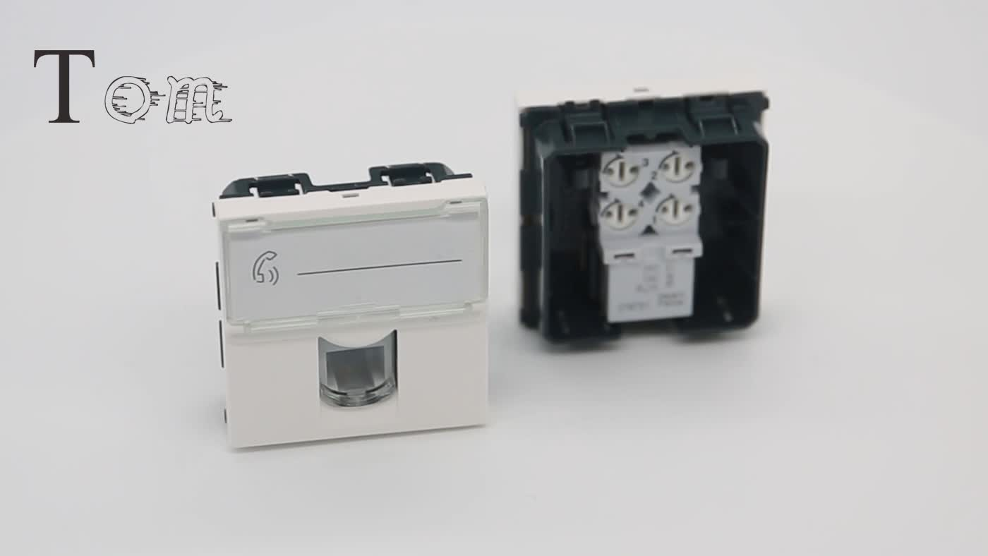 45*45mm french cat3 stp shielded faceplate  RJ11 wall outlet keystone jack legrand Plate