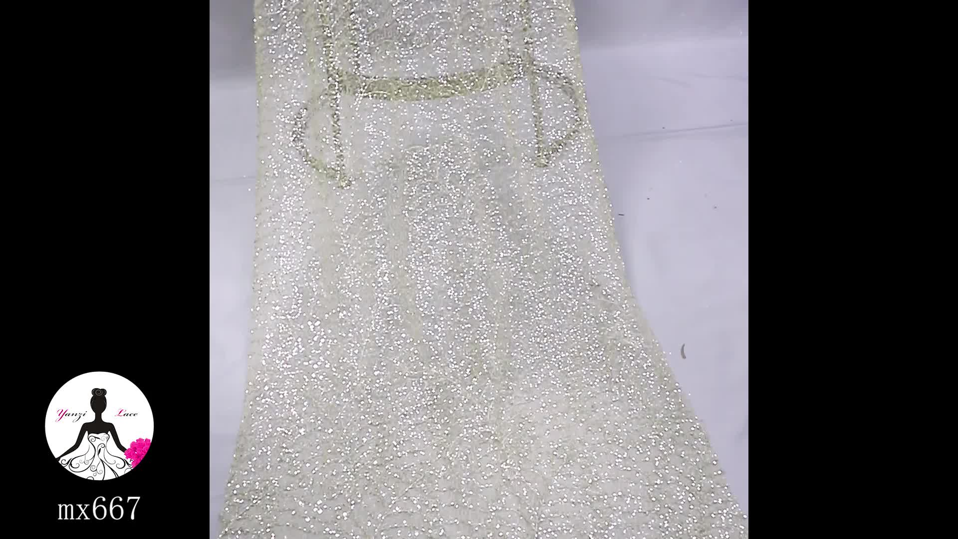 MX667 New arrival luxury silver white bridal heavy beaded embroidery lace fabric for wedding dress