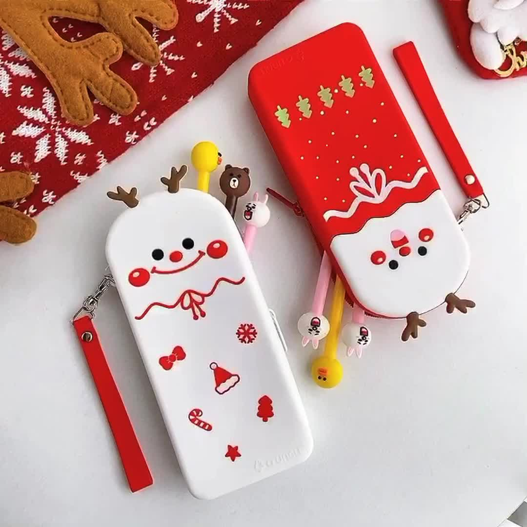 Customized Cheap Christmas Pencil Box Kids 3D Stationery Pencil Pouch Silicone Pencil Case For Children