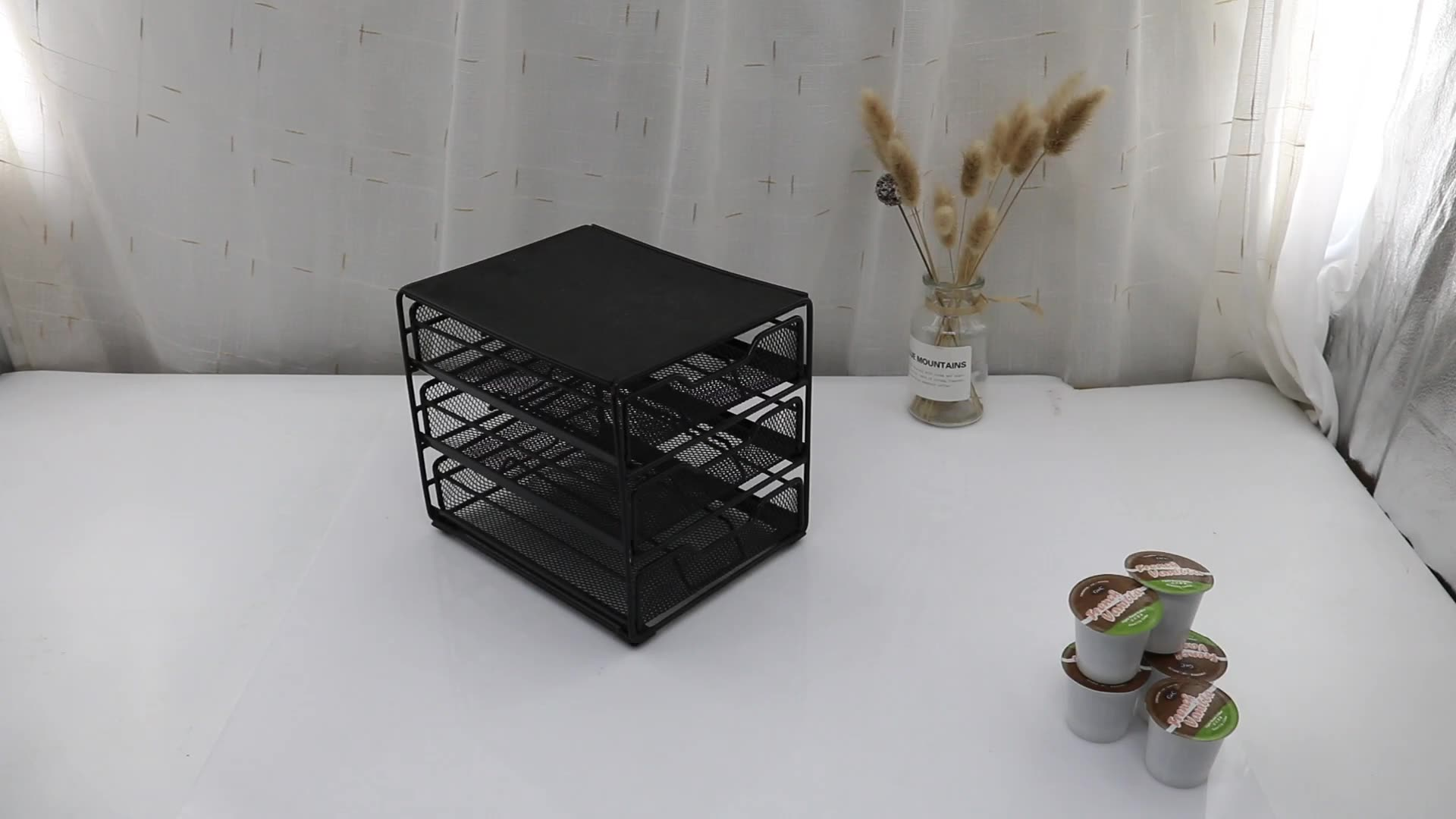 2 Tier Metal Mesh Wire K-Cup 70 Capacity Drawer Dolce Gusto Coffee Capsule Holder