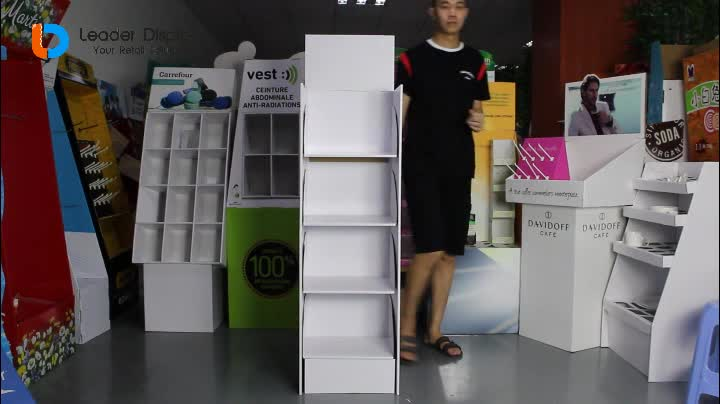 Good Quality Easy Assembling 4 Shelf Cardboard Standing Floor Display for Retail