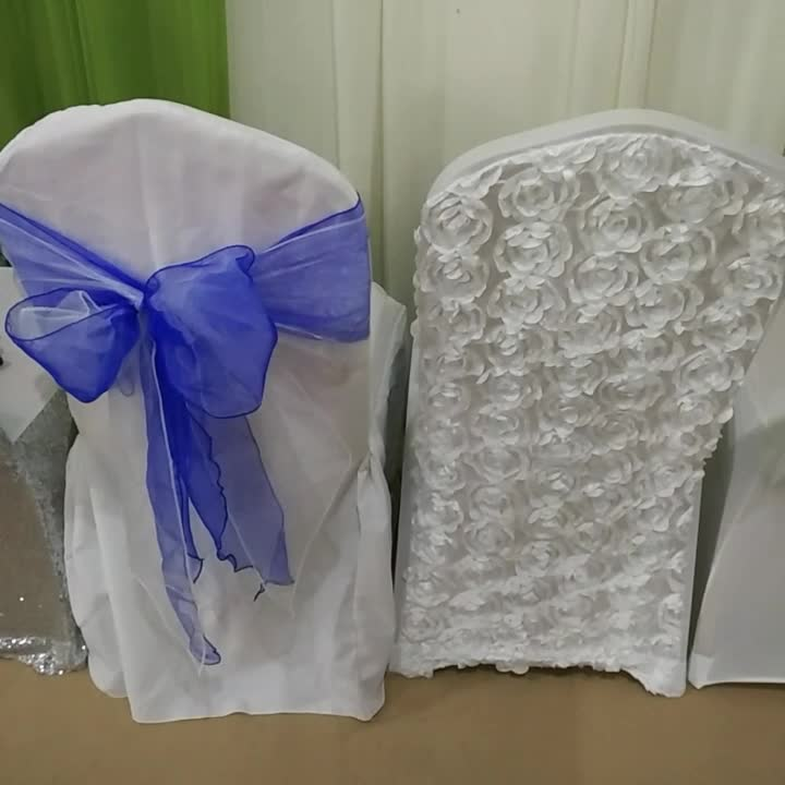 BIG SALE purple wedding satin chair sashes for banquet chair covers decoration