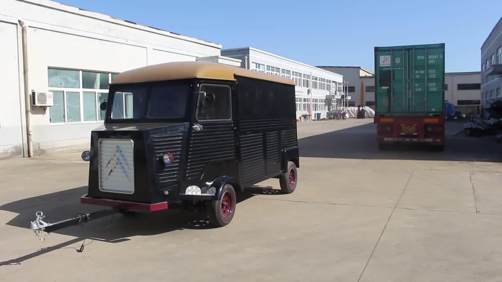 नई सड़क खाद्य वेंडिंग गाड़ी/इलेक्ट्रिक विंटेज VW citroen खाद्य ट्रक/मोबाइल खाद्य ट्रेलर बिक्री