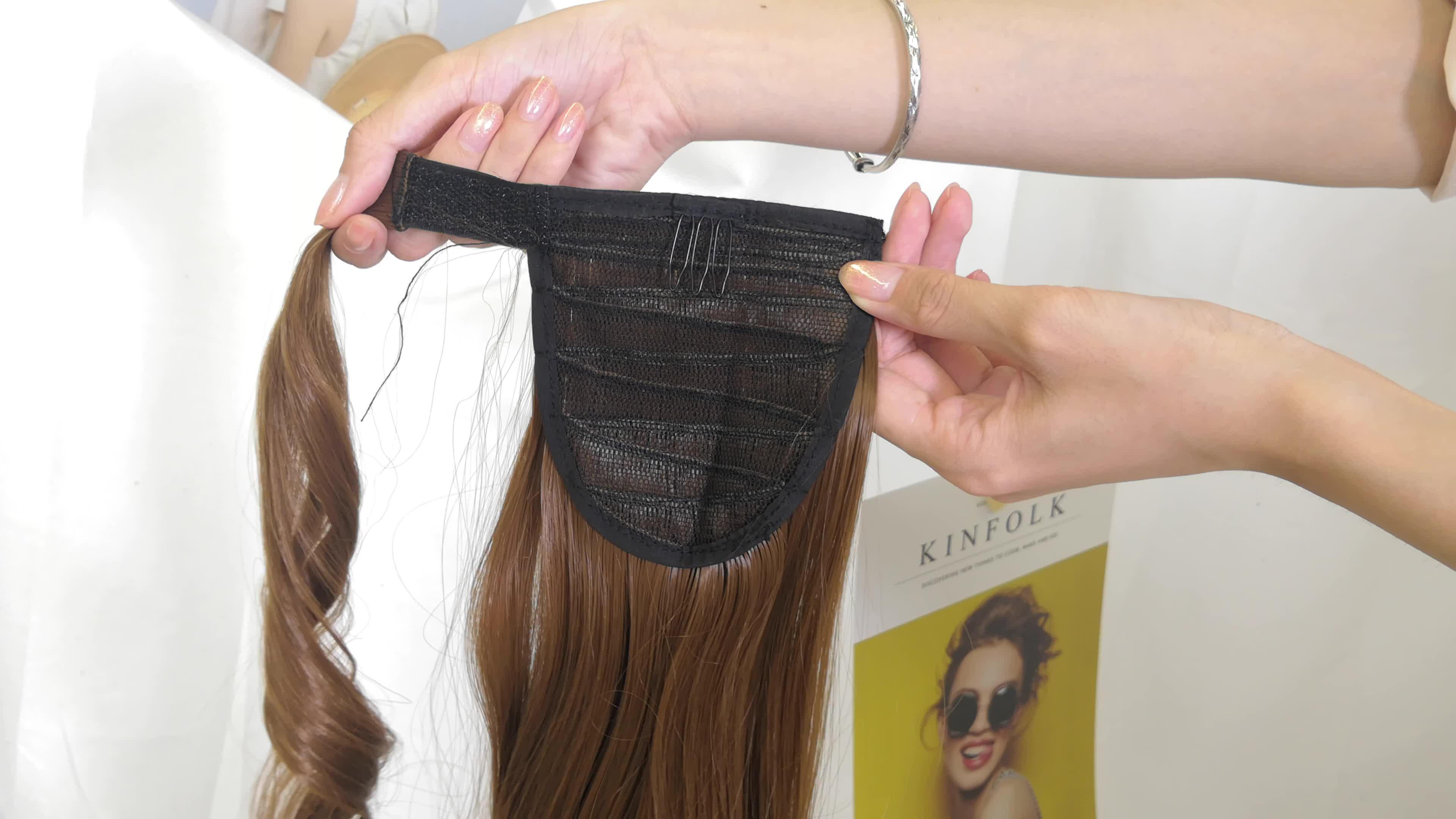 ラップ毛延長26 '非常に長い髪オンブルブロンド合成ポニーテール