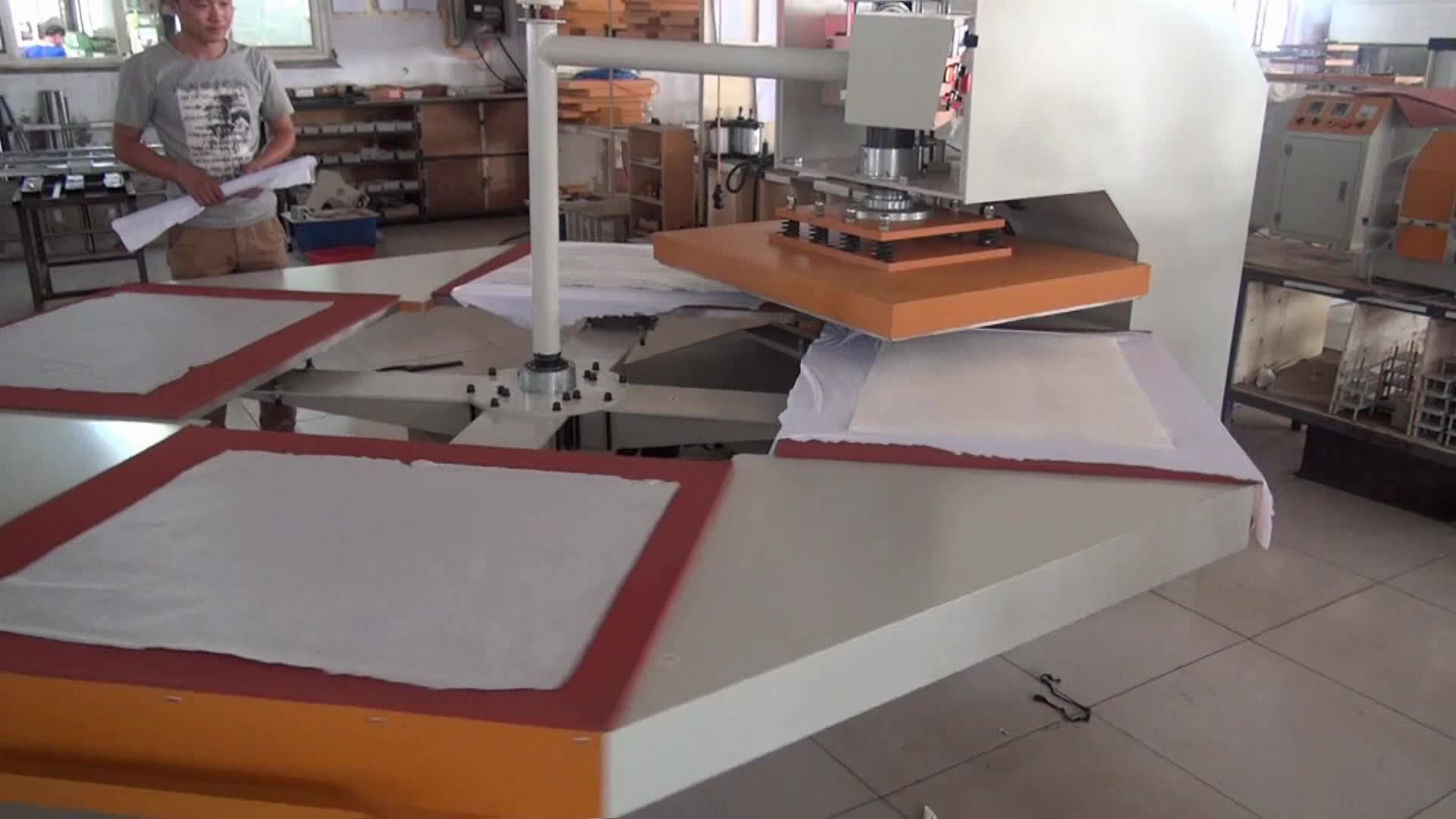 4 Station Electric Driving Full Automatic Rotary Moving T shirt Heat Transfer Printing Machine