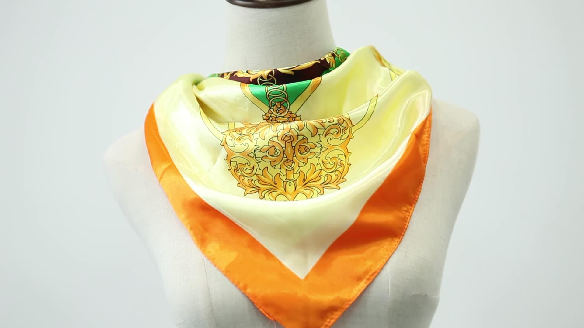 High quality 2019 custom print spring summer  polyester satin head scarf for hair