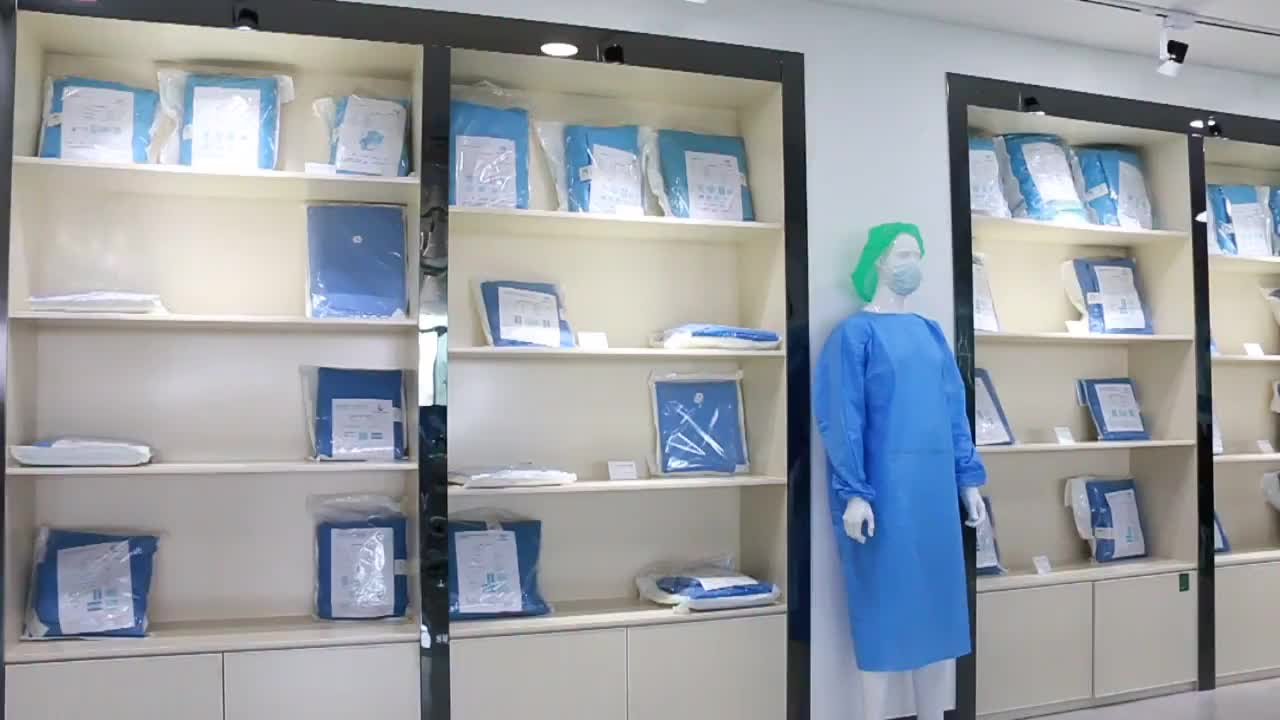Sterile disposable surgical gown poly reinforced