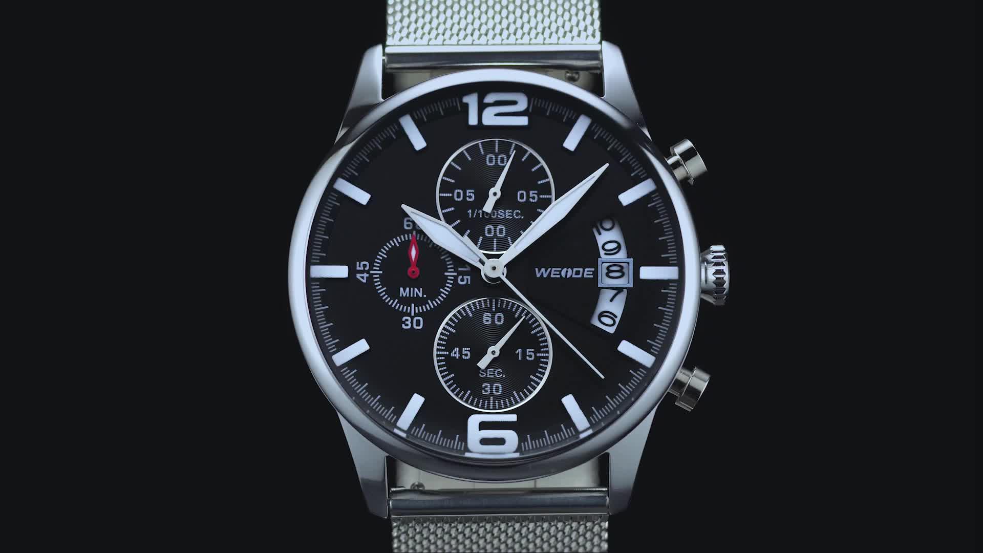 WEIDE 2019 العلامة التجارية الفاخرة الرجال ساعة كوارتز es شبكة الفولاذ المقاوم للصدأ سوار فولاذي سبائك ساعة كوارتز للرجال
