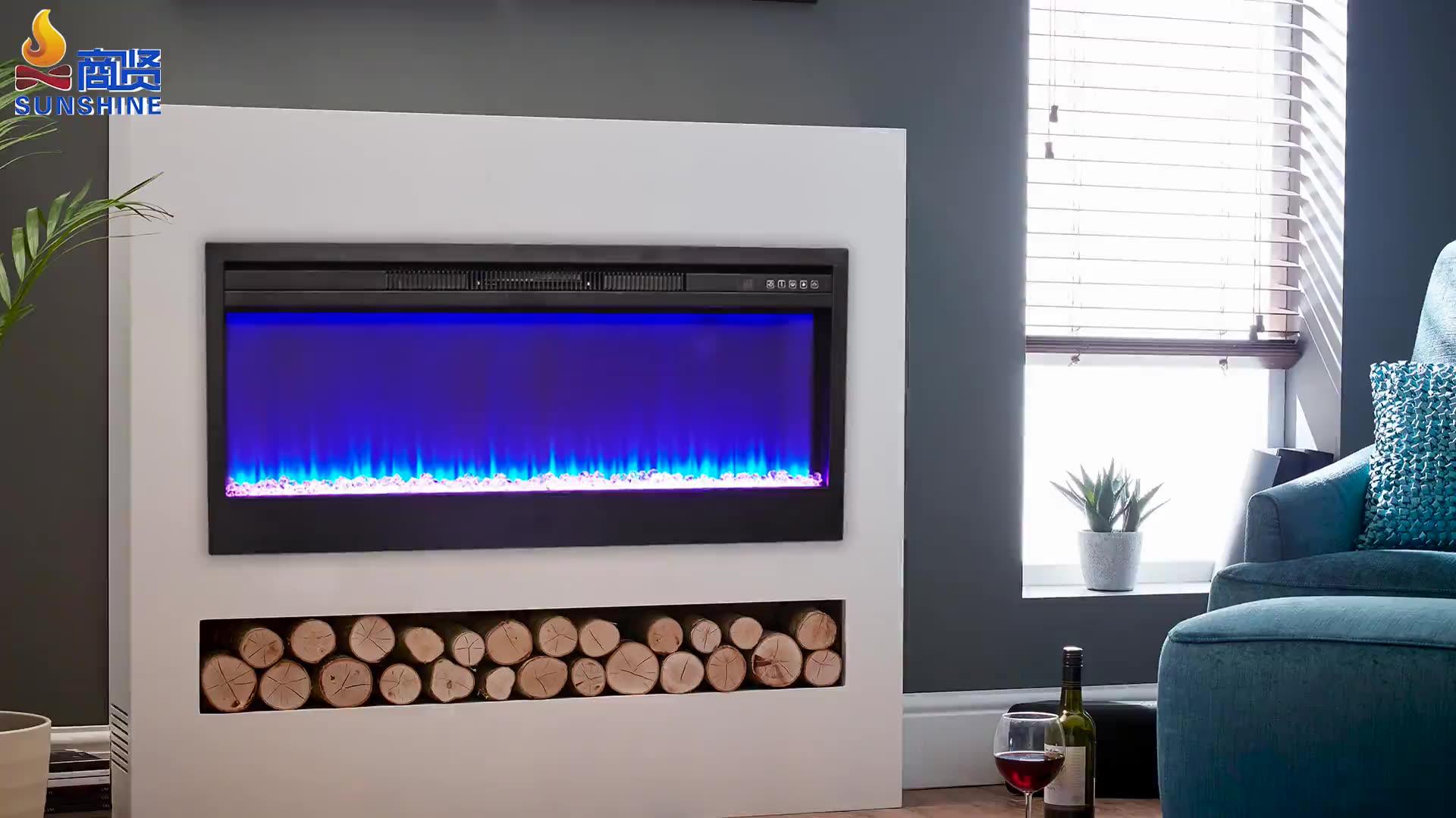 220v 1800w modern 72 inç ERP sertifikası uzaktan kumandalı kapalı dekoratif elektrikli şömine eklemek üreticisi