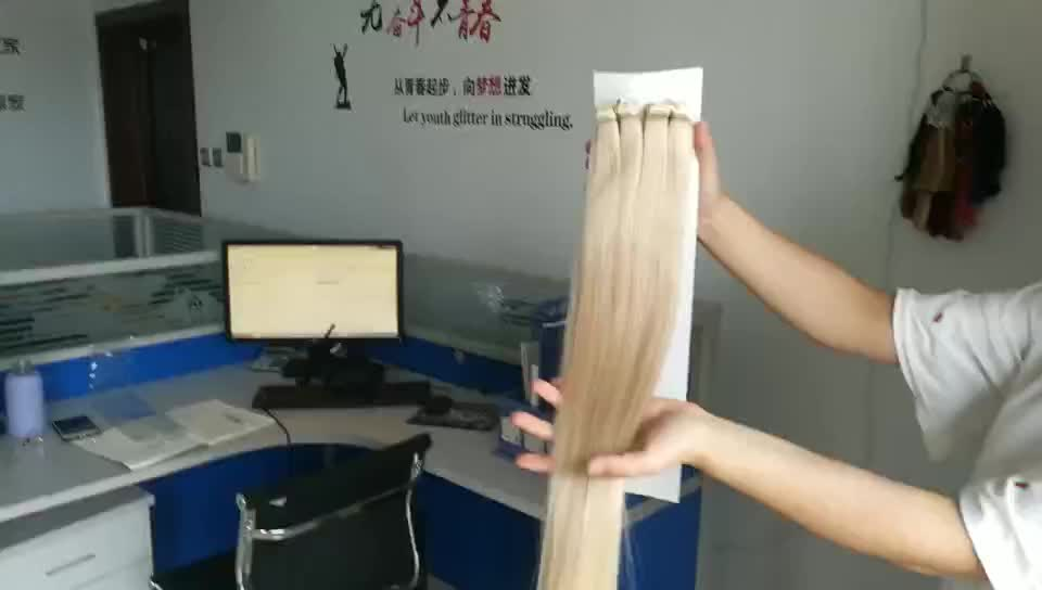 Wholesale double drawn russian remy high quality blue/white tape in human hair extensions