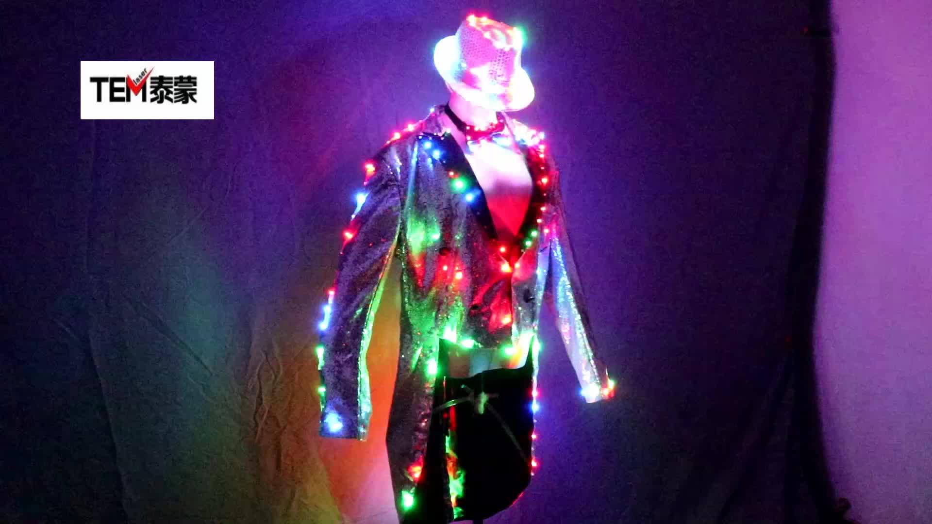 ファッションアゲハチョウ LED タキシード発光衣装グローイング vestidos LED 服のショー男性 LED 洋服ダンスのアクセサリー