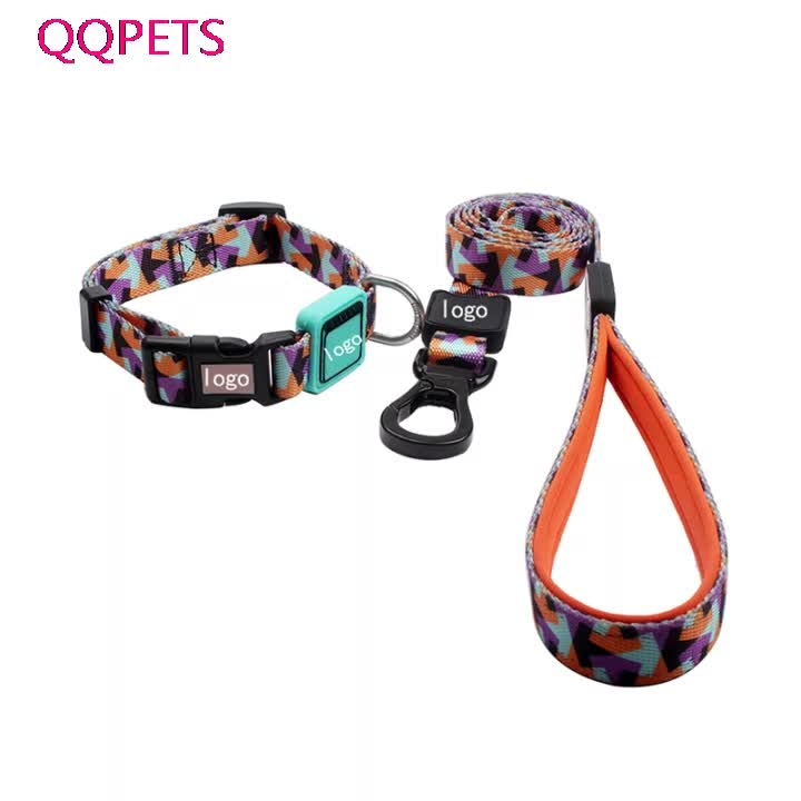 Lovable custom brand shiny polyester modern dogs innovative products dog collar and leash