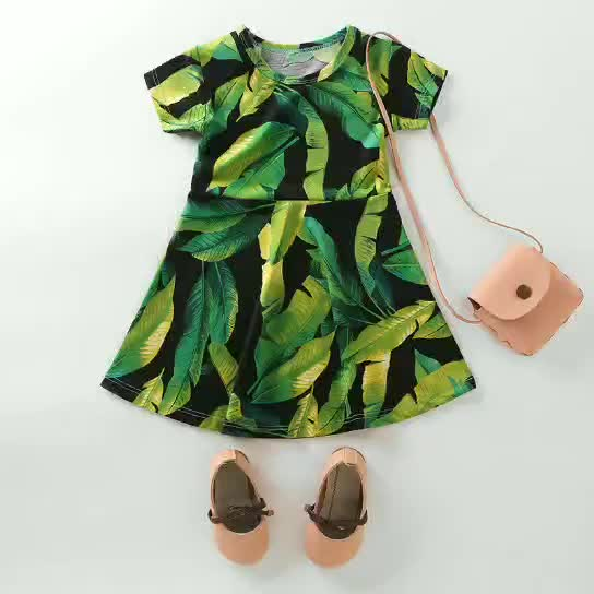 Body Printing Kids Casual Party Dress