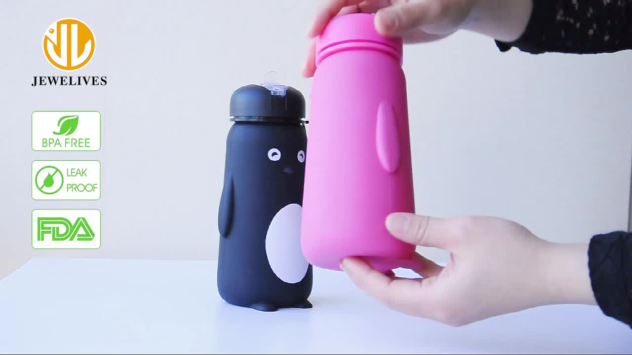 Bpa Free Cartoon Silicone Drinking Water Bottle With Straw For Kids