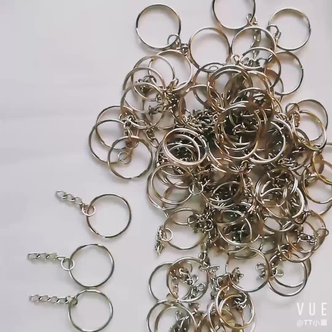 1000 peça de cada saco keychain DIY 25 milímetros anel dividido + 4 elo de corrente com um salto anel combinação separado chaveiro