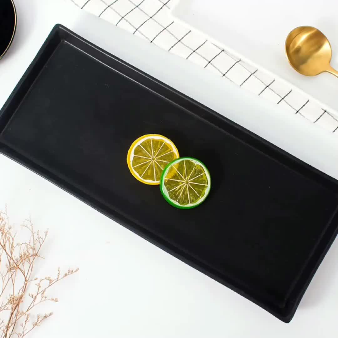 Factory custom 13inch white black long rectangular restaurant wedding sushi dessert dishes ceramic appetizer dinner plates