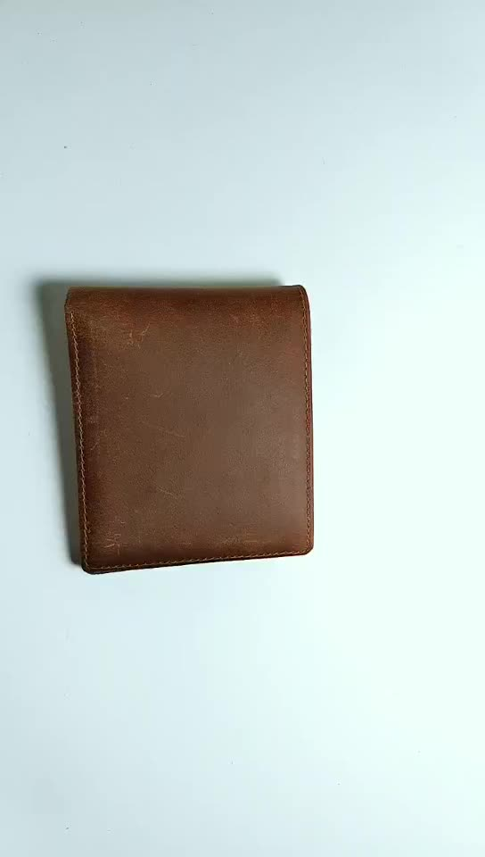wb1902 Men Vintage Genuine Leather Wallet Trifold Wallets with Coin Pocket