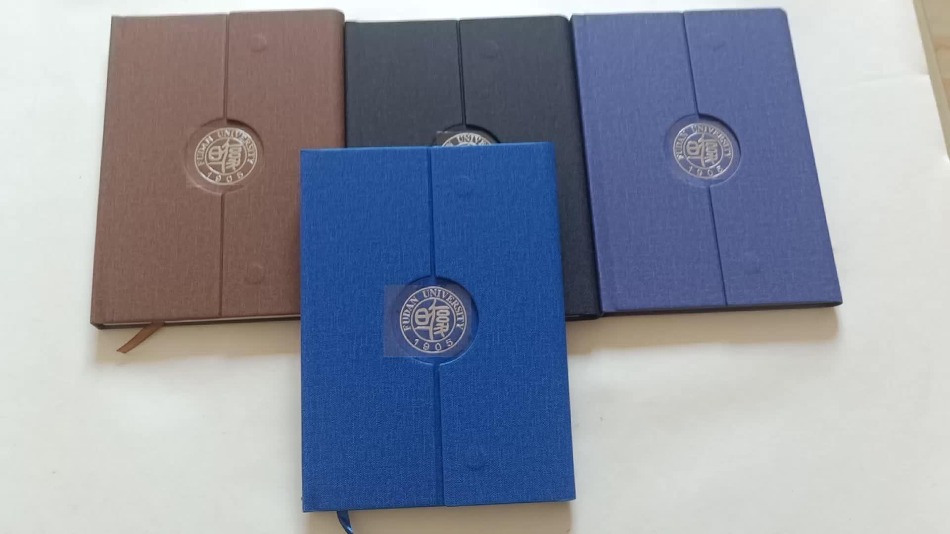 Brown Pu Tentara Militer Catatan Buku Catatan Memperbarui Pengantin Notebook dengan Logo Logam