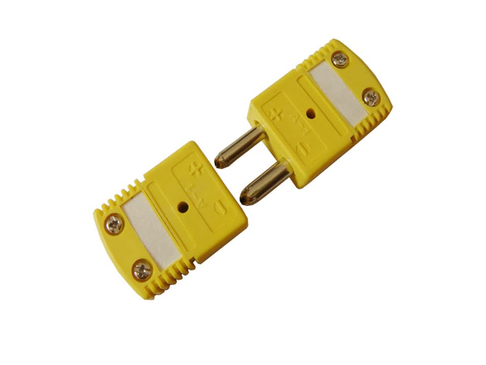 Yellow k type standard thermocouple wire cable connector plug