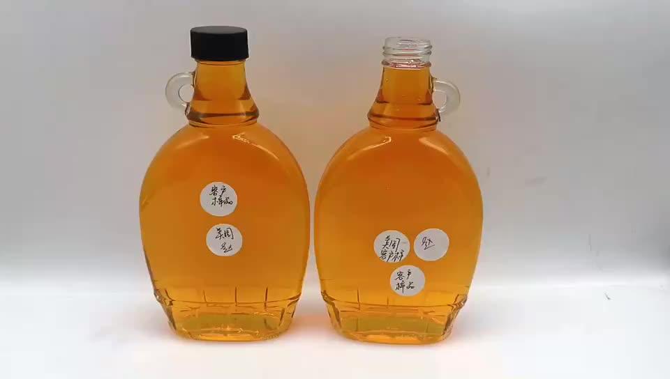200 ml 375 ml 500 ml Jelas botol kaca minuman anggur dengan pegangan botol sirup maple