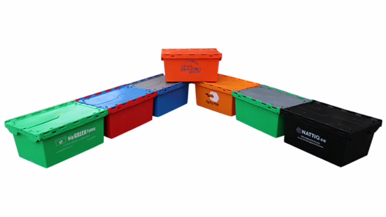 85L Heavy Duty Turnover moving tote Boxes Large Capacity  attached lid Container Plastic Boxes