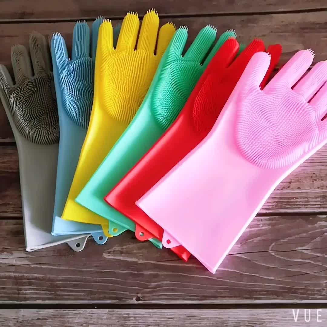 100% Silicone Eco-Friendly Scrubber a Secco Guanti di Spugna silicone Multiuso guanti per lavare i piatti
