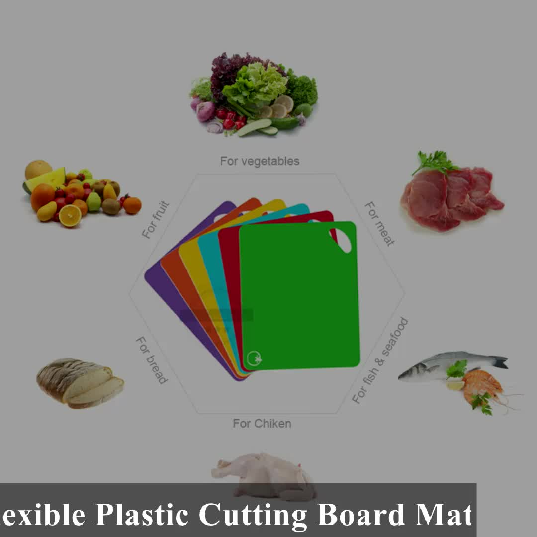 6 팩 주방 도마 개인 레이블 유연한 플라스틱 커팅 보드 매트 세트