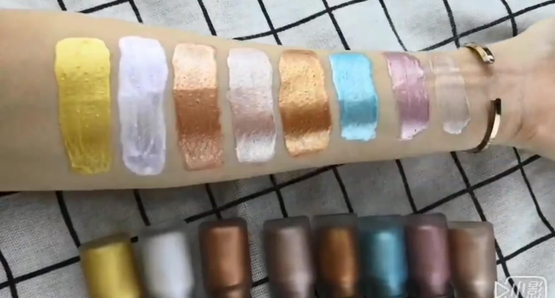 แต่งหน้า 3D Liquid Shimmer Highlighter แต่งหน้าส่วนตัวป้ายกันน้ำ 8 สี Highlighter