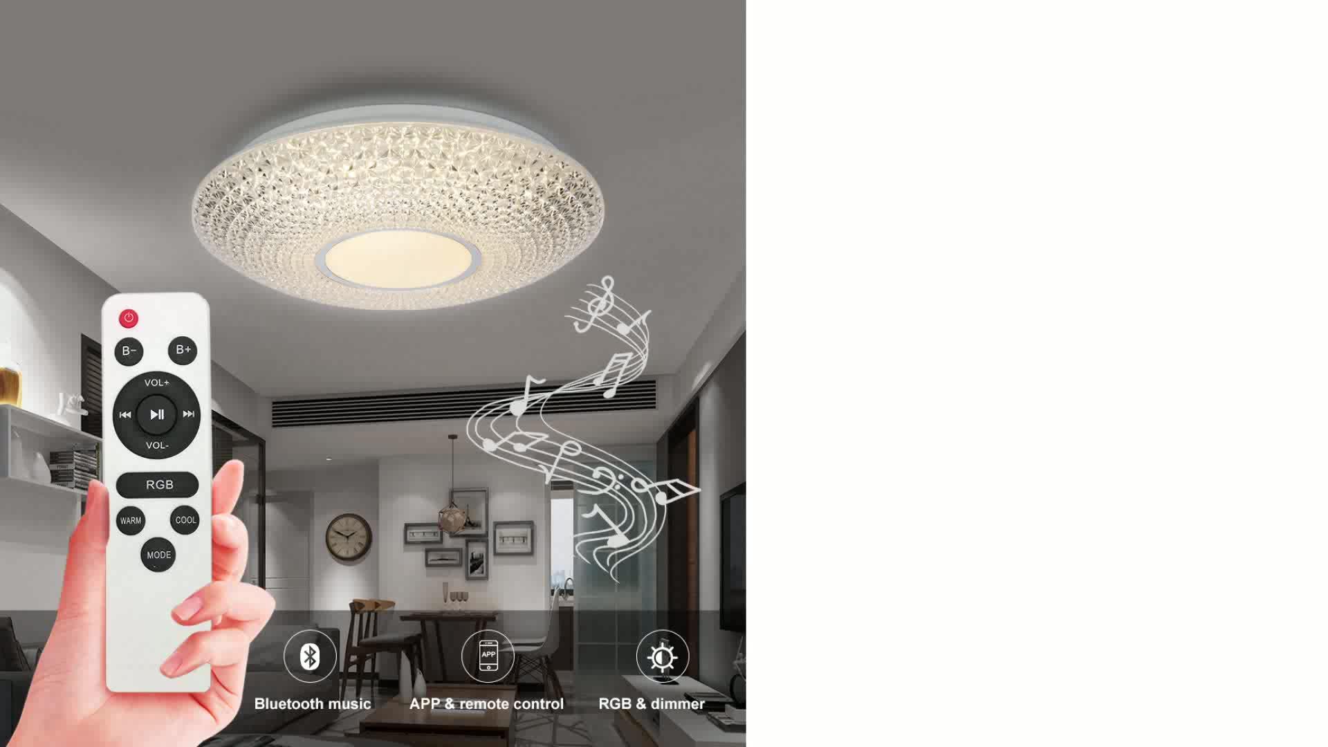 Afstandsbediening led plafondlamp met speaker mode wifi app controle bluetooth led plafond lamp 48W 60W 3000 -6500K