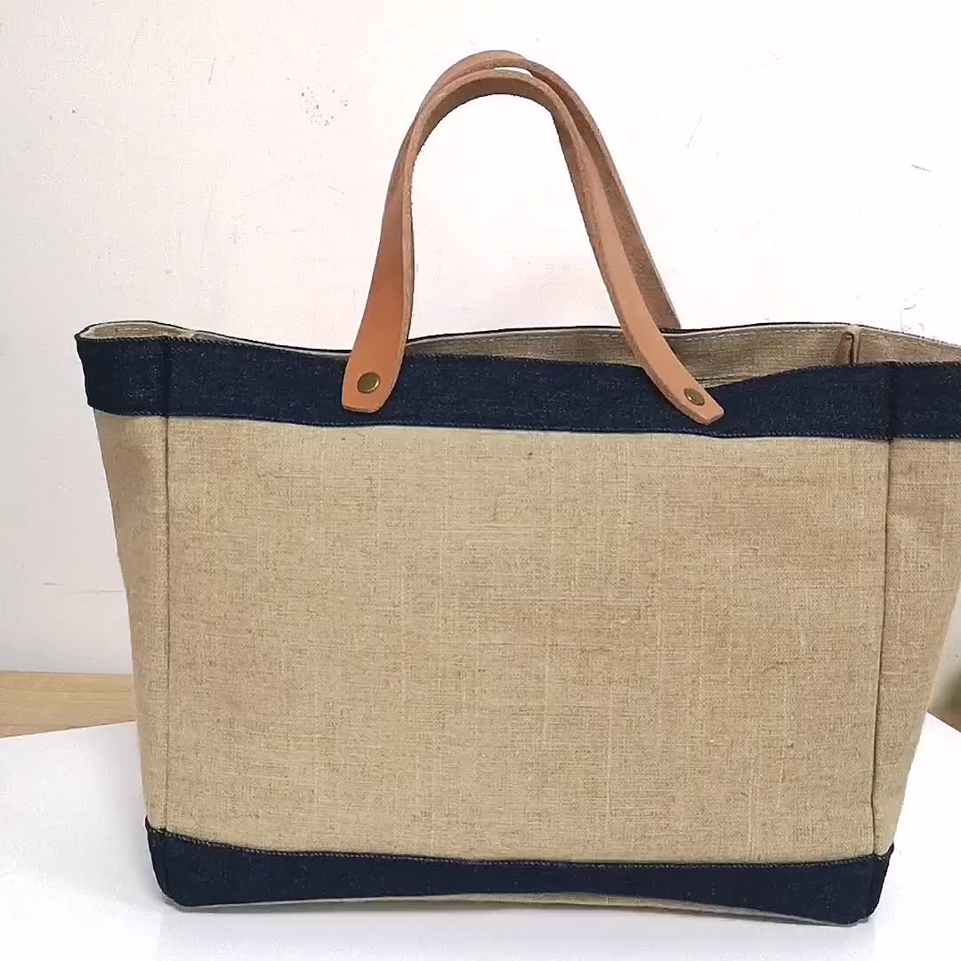 New Design Burlap Market Reusable Grocery Bags Eco-Friendly Tote Jute Bag with Genuine Leather Handle