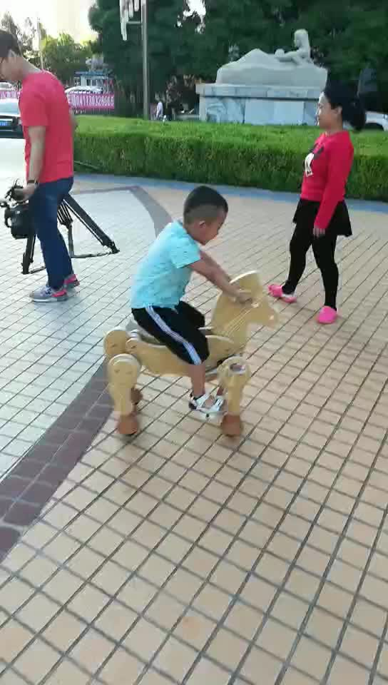 New design ride-on toy mechanical horse walking machine wood horse toy
