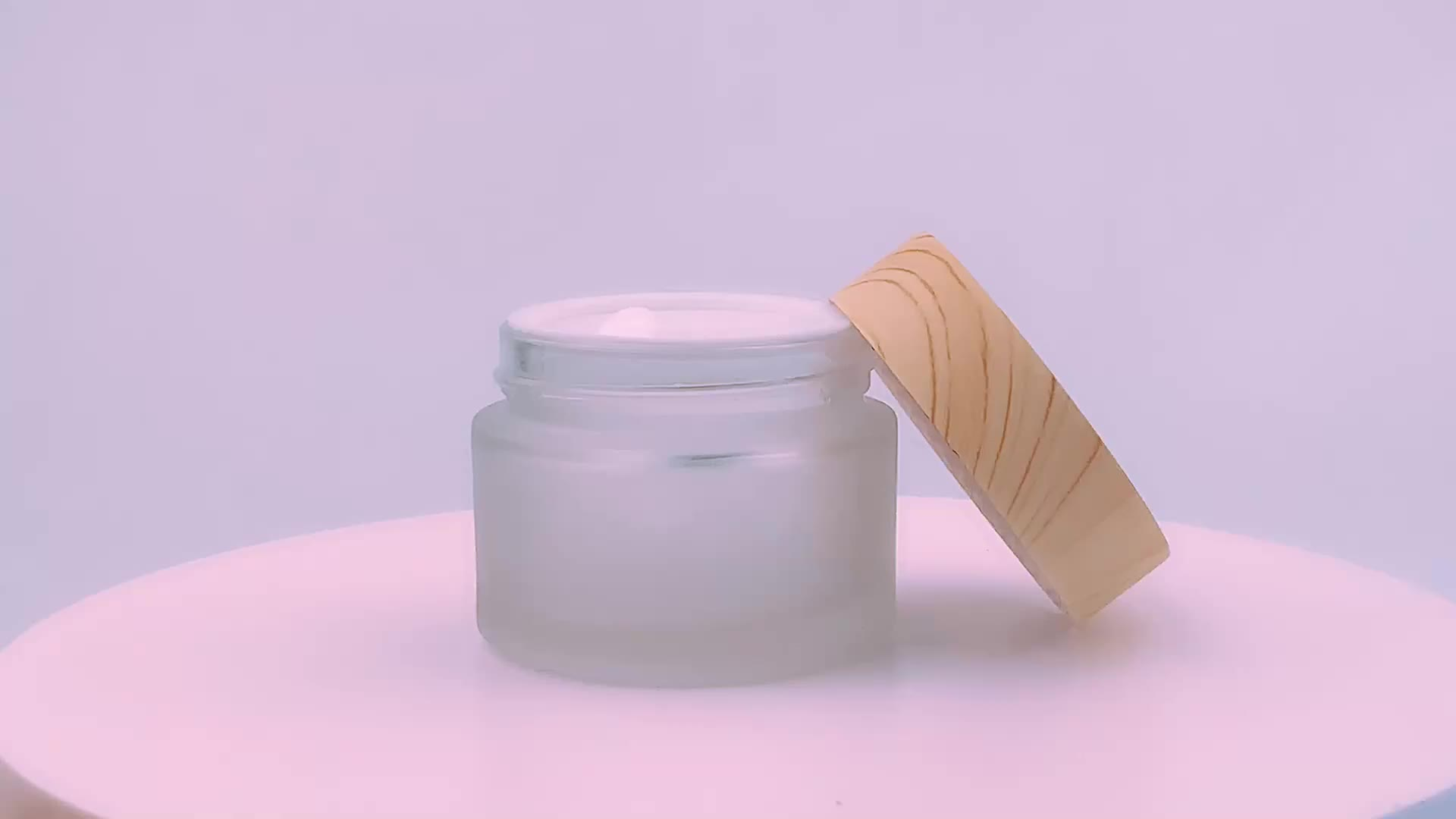 30g 50g empty matte bamboo face cream jar, frosted glass cosmetic jar
