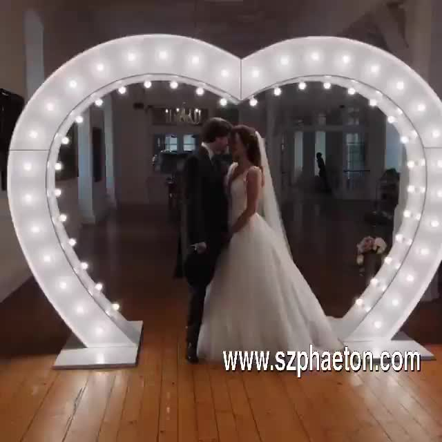 Large heart shape lighting wedding arch for giant wedding decoration marquee letters