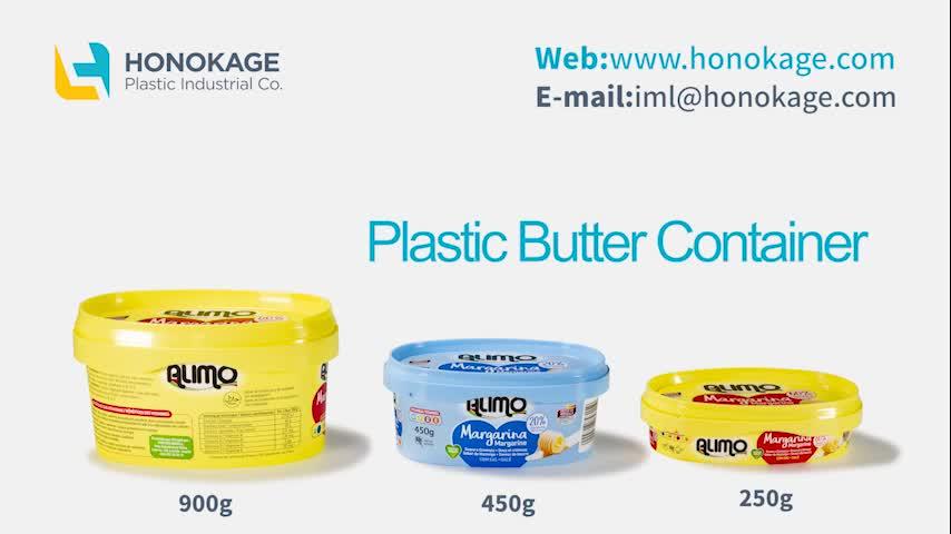 Barato eco desechables logotipo personalizado 450g 900g oval pp IML mantequilla contenedor de plástico queso margarina recipiente de embalaje