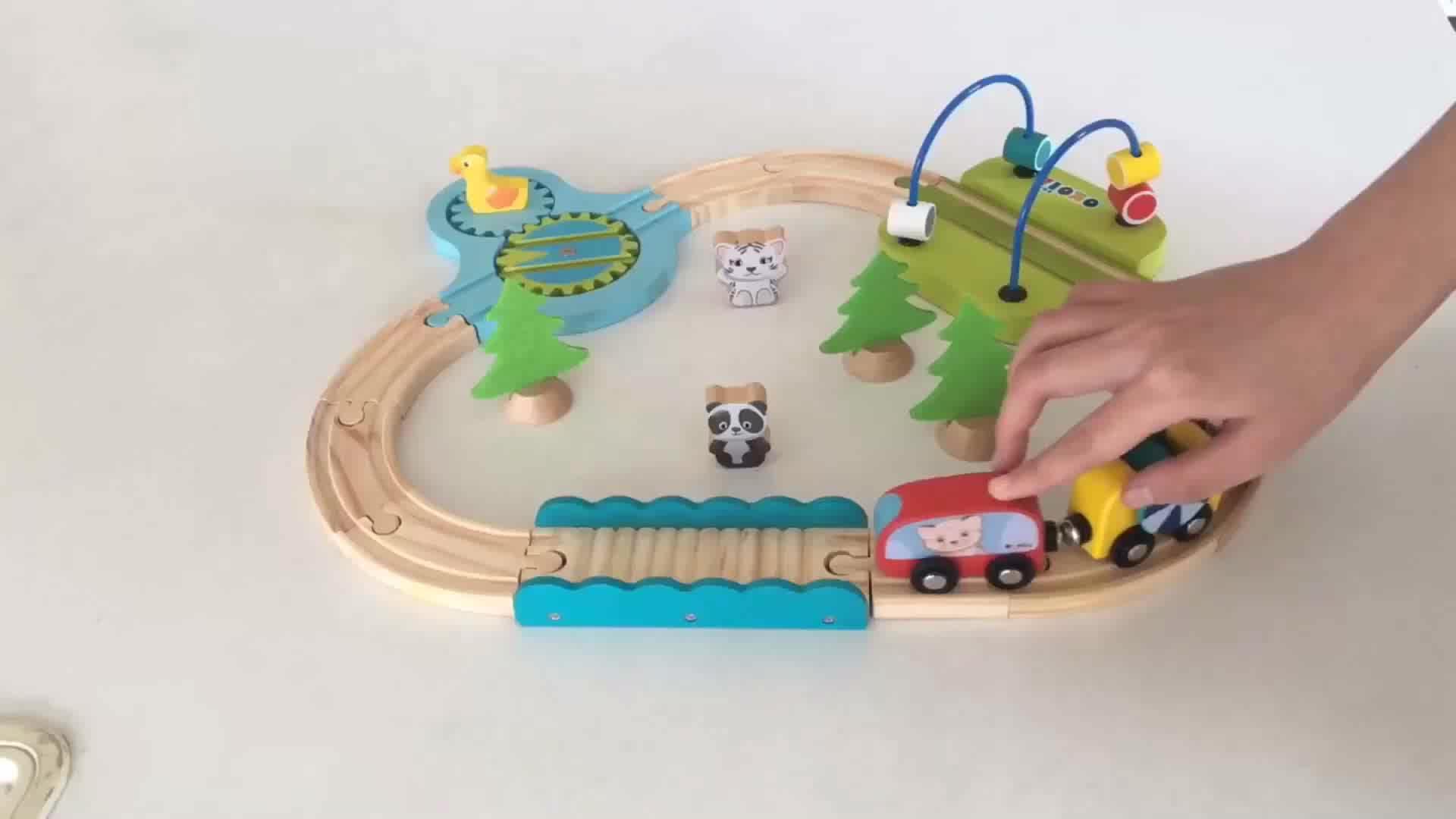 2019 Топ продажа 100 шт дети деревянные дети поезд набор для оптовой продажи W04C159