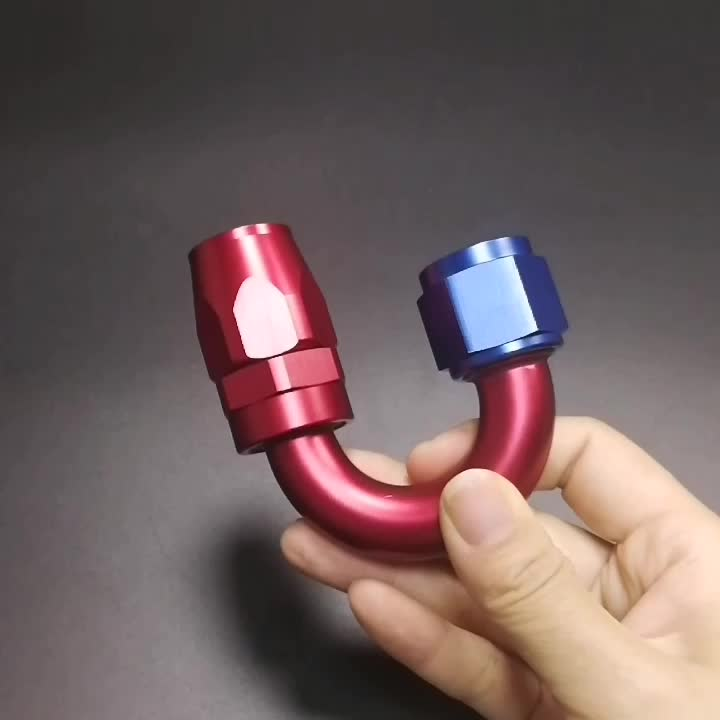VMT Aluminum Female 10AN 90 Degree Elbow Fuel Forged Pipe Fittings AN10 Female To 10 AN Double Swivel Forged Hose End
