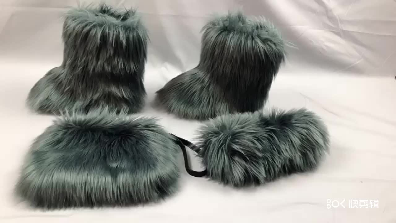 Donne di pelliccia stivali di pelliccia di inverno caldo stivali casual scarpe delle donne di inverno della caviglia stivali di pelliccia diapositive borsa di corrispondenza e la fascia set