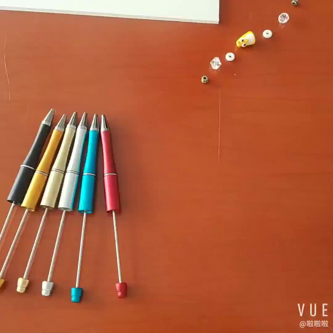 Großhandel beadable kunststoff stift fügen sie eine perle kugelschreiber DIY stift