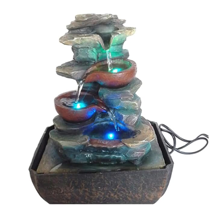 Indoor Stone Modeling Resin Rock Decoration 4 Tier Water Fountains For Home