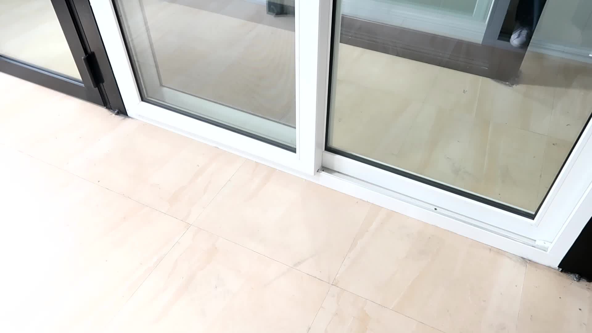 AS2047 Wooden Color PVC Plastic Sliding Glass Door Design