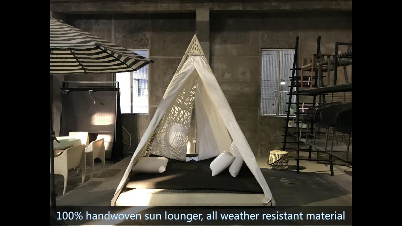 Best selling waterproof wicker pyramid garden furniture outdoor sunbed